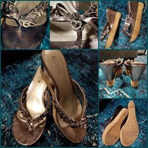 Women's dress flip flop heel shoes
